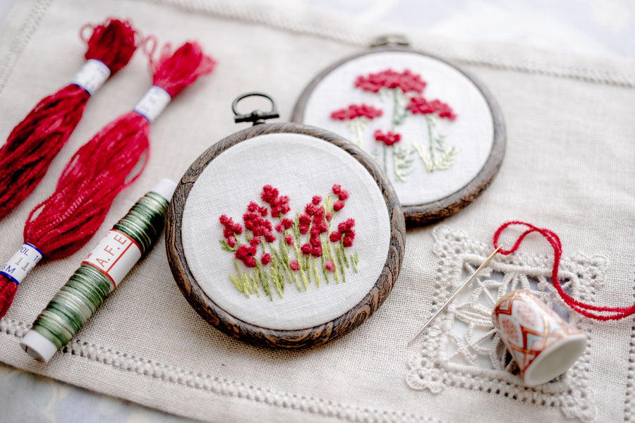 A.08❤️アカツメクサの花刺繍キット 〜