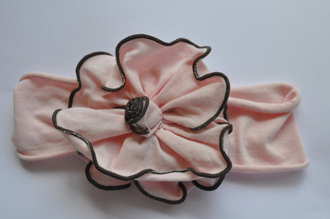 Headband | Pink with brown trim