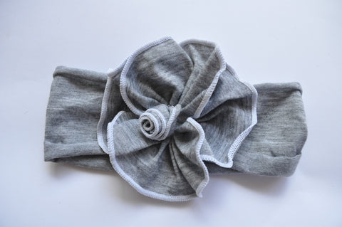 Wide-fit Headband | Grey Marl with white trim