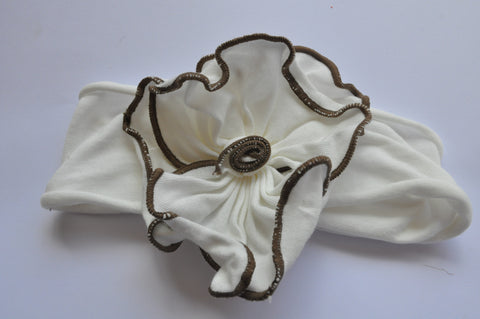 Wide-fit Headband | Cream with brown trim