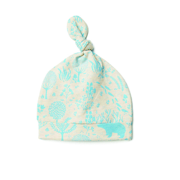 Cream and Blue Woodlands Knot Baby Hat