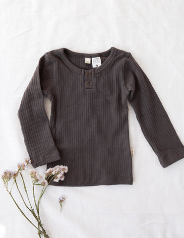 Willow Long Sleeve Cotton Top - Pepper