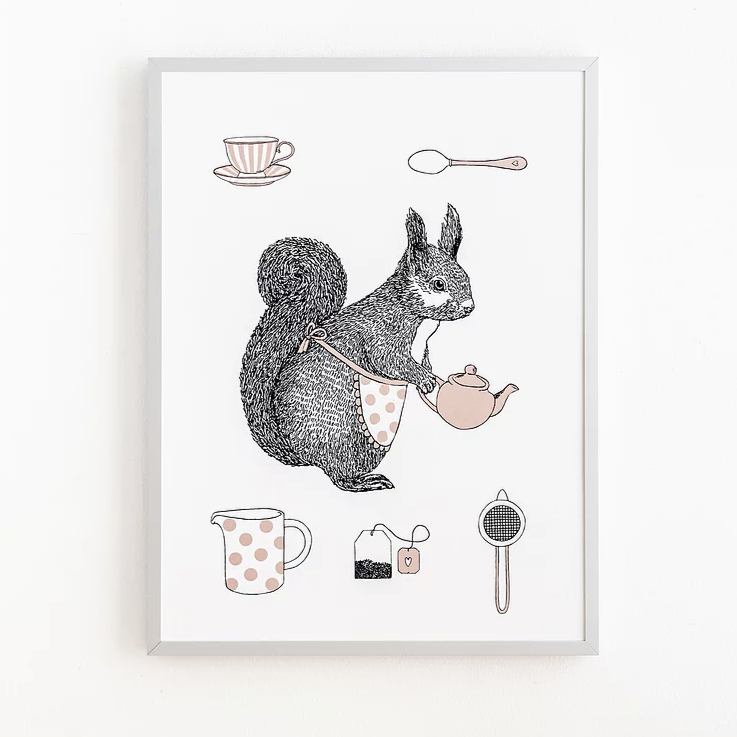 Print in a white frame against a white wall, the illustration is of a squirrel wearing an apron and holding a teapot. There are smaller illustrations above and below her of teacup, spoon, milk jug, teabag and strainer.