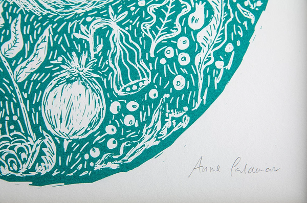 Close up of green woodland fox print