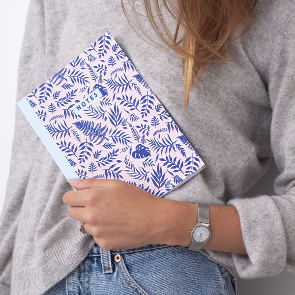 Blue Leaf Pattern Notebook
