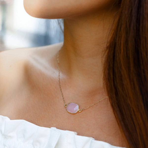 Bina Button Necklace - chalcedony