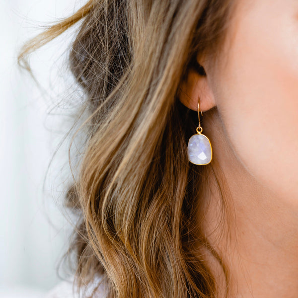 Bina Button Earrings - moonstone