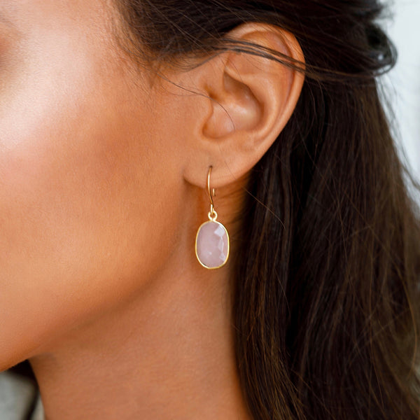 Bina Button Earrings - chalcedony