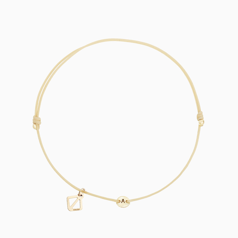 Create Your Own - Tiny Initial Bracelet - Beige