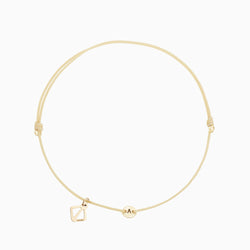 MAKARO Create Your Own - Tiny Initial Bracelet - Beige