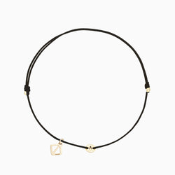 Create Your Own - Tiny Initial Bracelet - Black