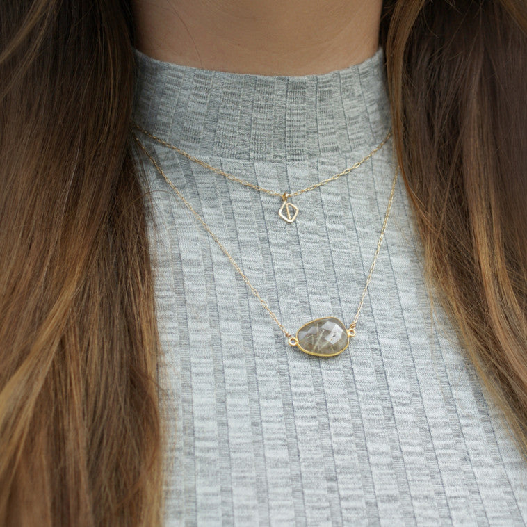 Bina Button Necklace - rutile quartz