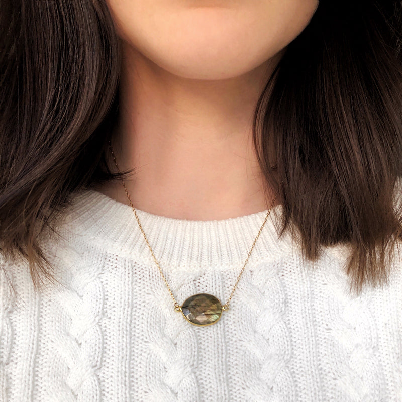 Bina Button Necklace - labradorite