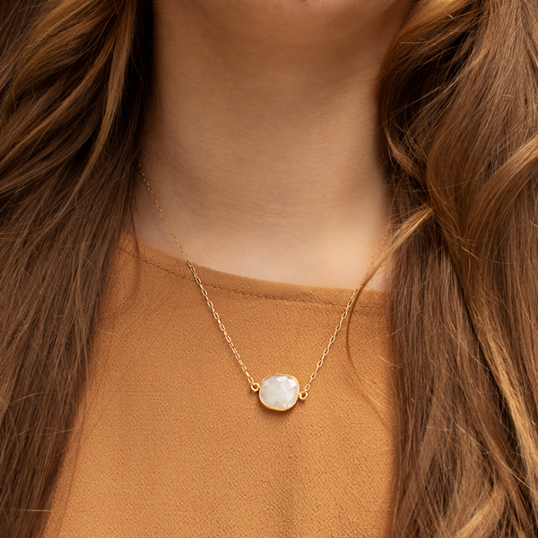 Bina Button Necklace - moonstone