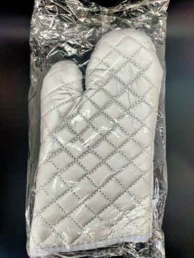 Pair of Silver Colour Oven Mitts Medium Size