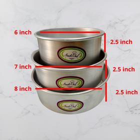 Aluminium Round Cake Tin - Set of 3 (6