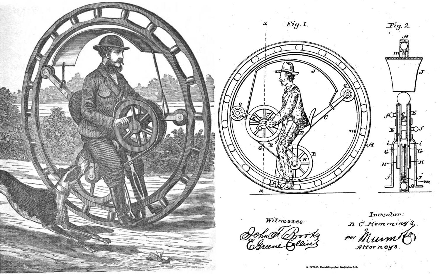 electric unicycle history - Picture of Hemming's Unicycle Flying Yankee Velocipede