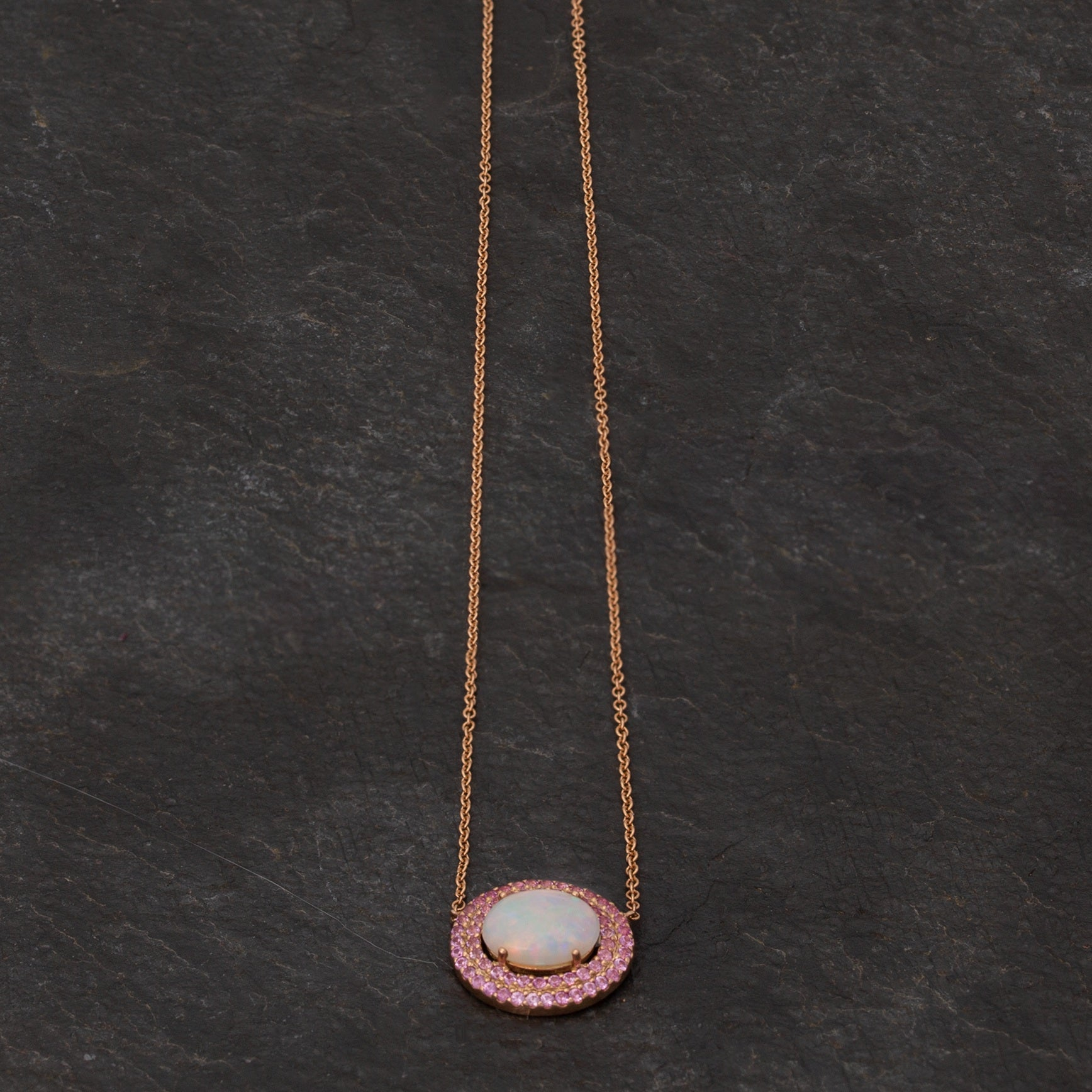 Alexis Jae custom necklace with pink stones and opal
