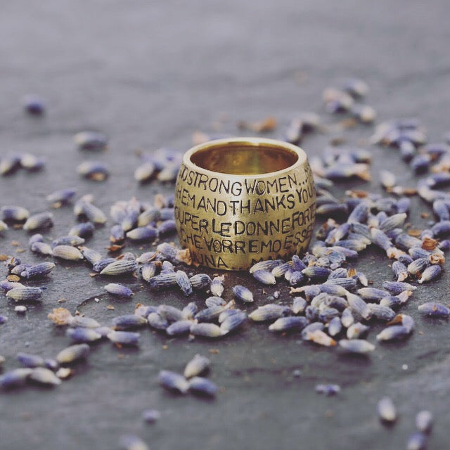 Custom made and engraved ring, strong women