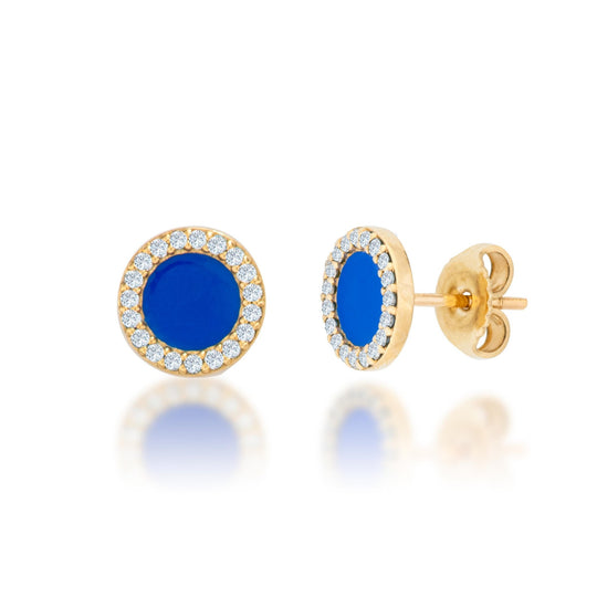 14K Diamond And Blue Enamel Earrings