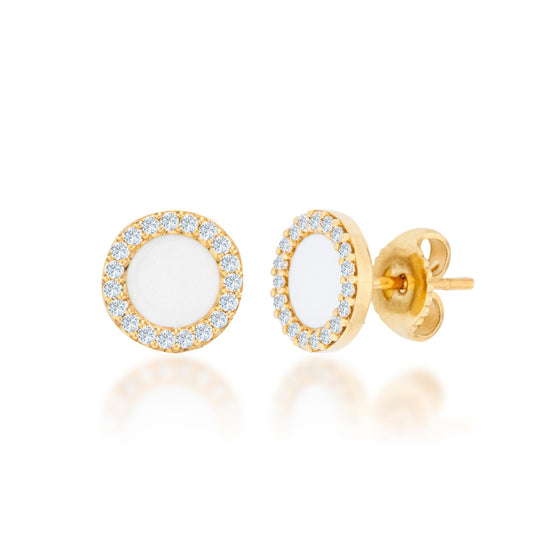 14K Gold Diamond And White Enamel Earrings