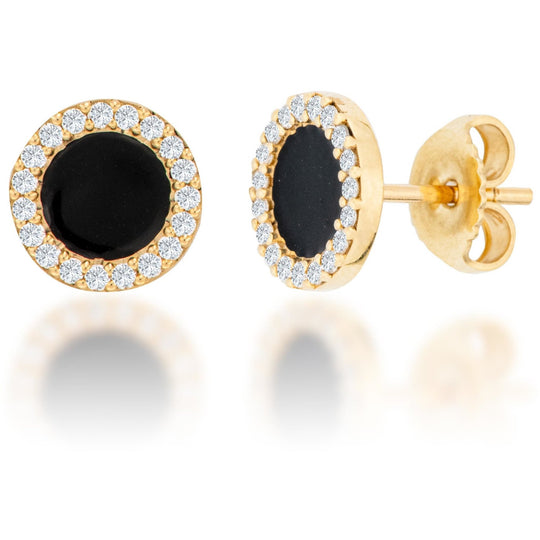 14K Gold Black Enamel Diamond Halo Earrings