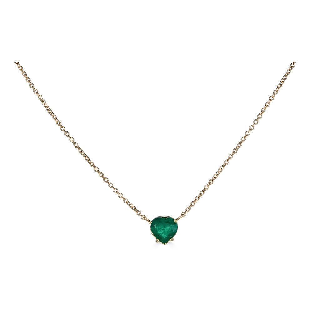 14K Gold Emerald Heart Necklace - Alexis Jae