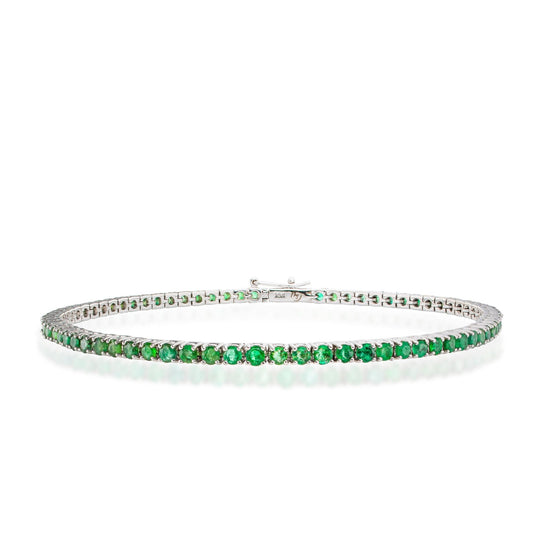 14K Gold Emerald Tennis Bracelet