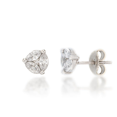 14K Gold Invisible Diamond Studs