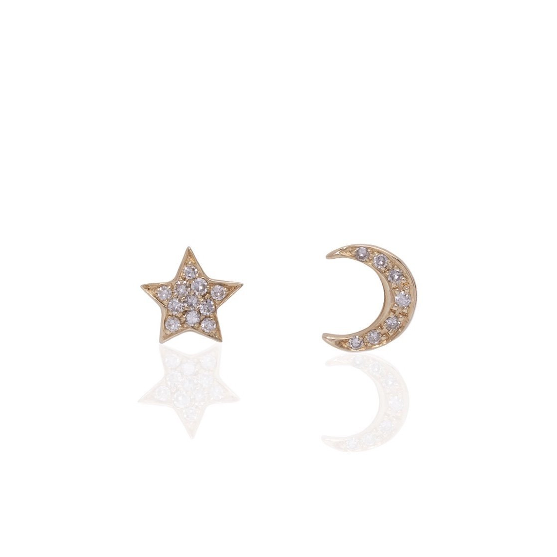 14K Gold Star and Half Moon Studs - Alexis Jae