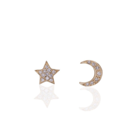 14K Gold Star and Half Moon Studs