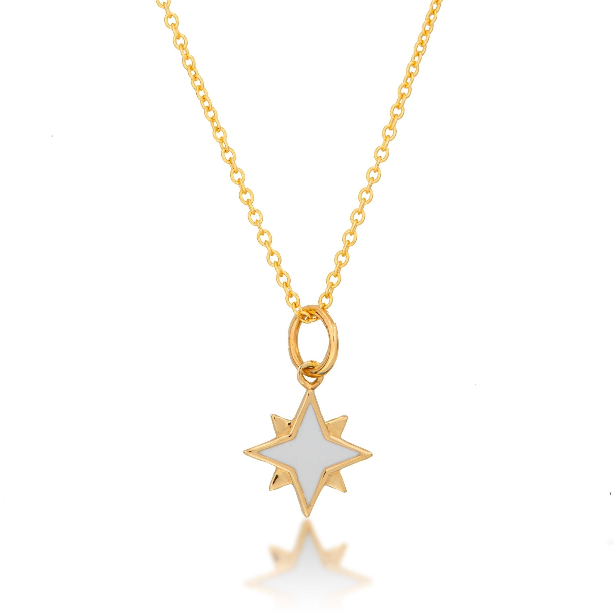 14K Gold White Enamel Starburst Necklace - Alexis Jae