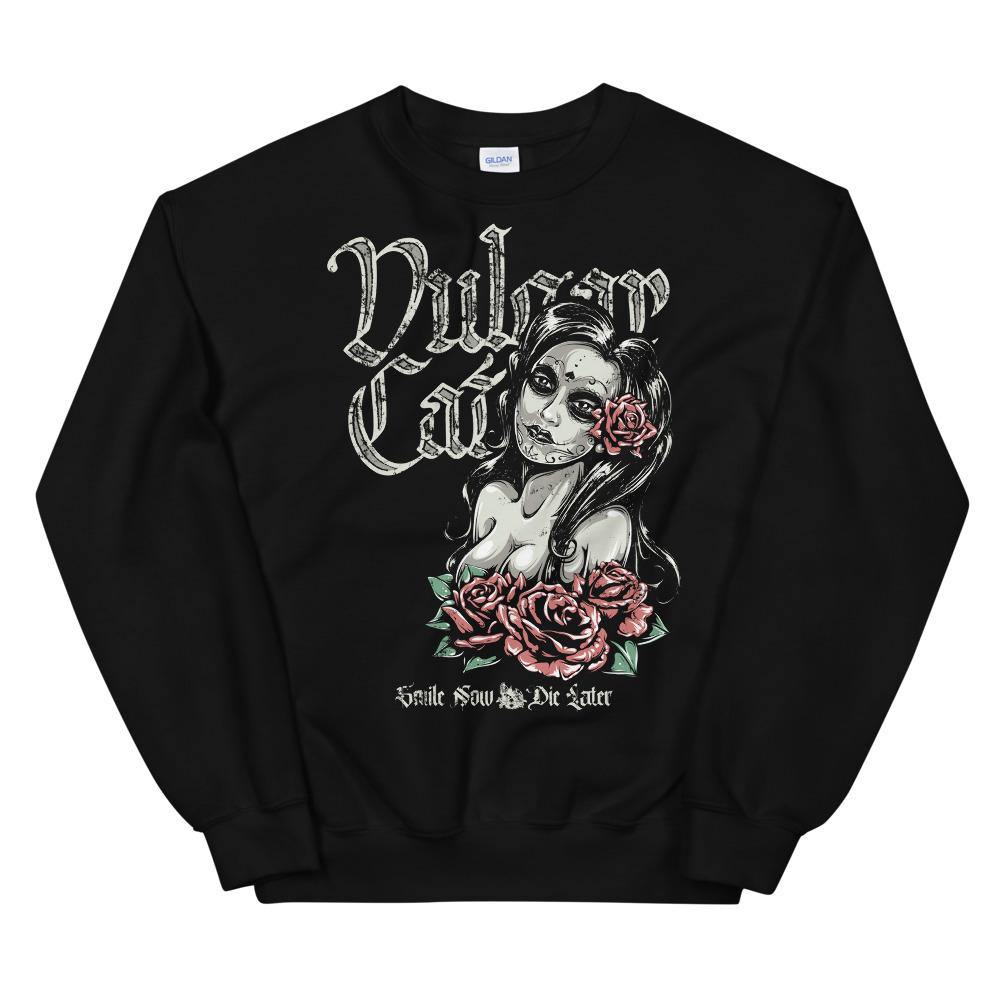 Smile Now, Die Later (Crewneck) - VulgarCat - All, April, Crewnecks, import_2020_10_05_174341, Men's, New Releases, Women's