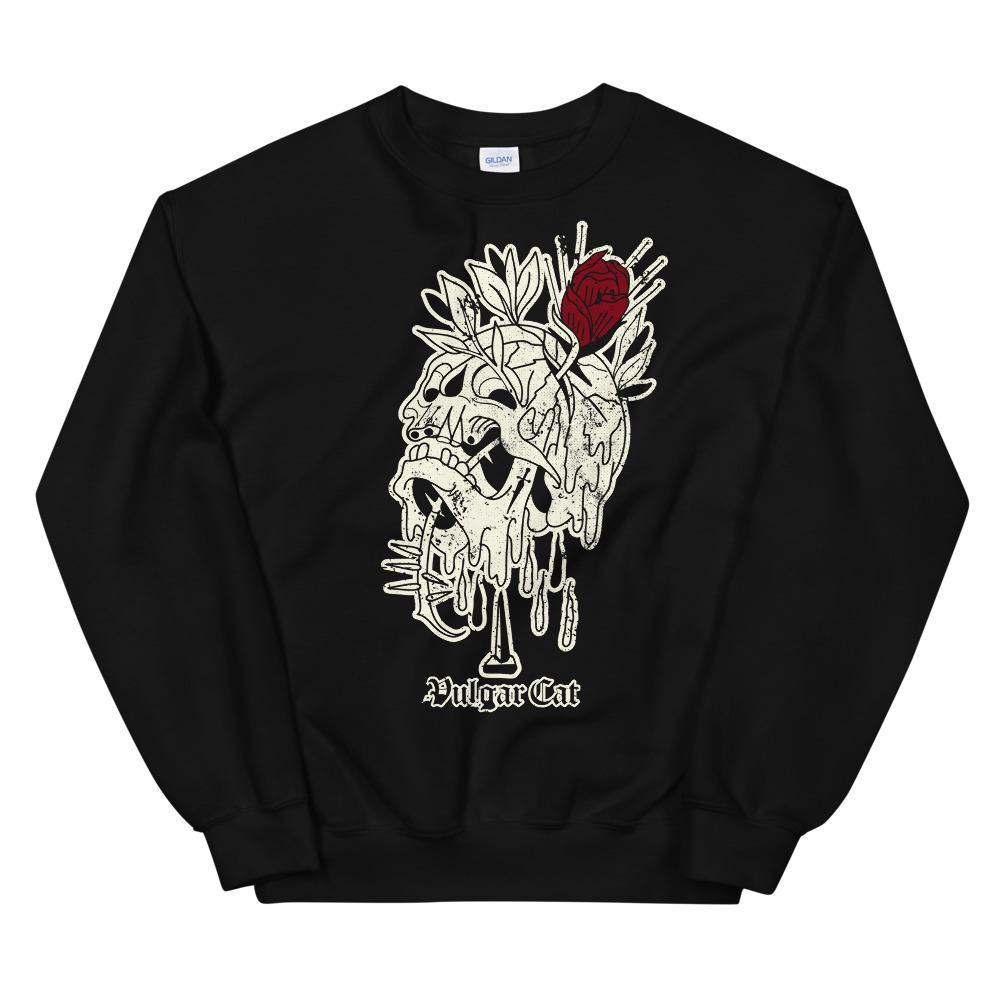 Rose & Skull (Crewneck) - VulgarCat - apparel, clothing, halloween, rose, skeleton, skull, traditional