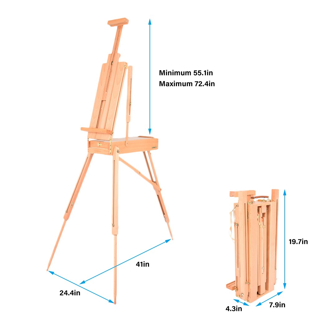 French Easel With Sketch Box And Tray, Portable Adult Art Easel, Wooden Tray