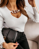 Chain Decor Bell Sleeve Rib-knit Top
