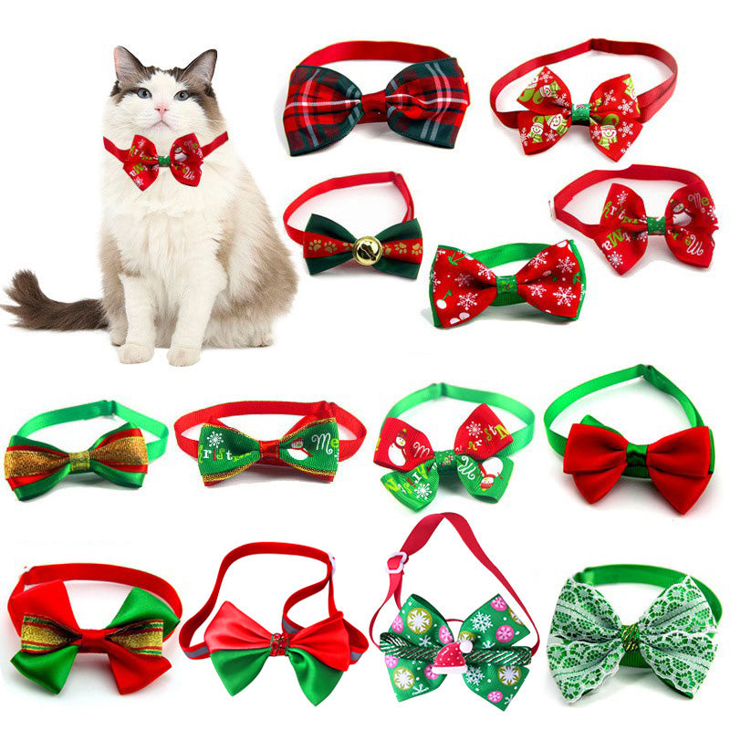 Christmas Adjustable Dog Cat Collar Dog Bow Tie Pet Neck Leash Cat Dog Grooming Accessories For Puppy Cat