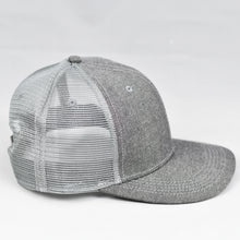 Load image into Gallery viewer, Grey Chambray Slight Curve Snap-Back Trucker