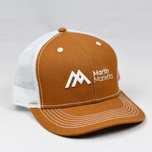 Load image into Gallery viewer, Carhartt & White Slight-Curve Flat-Bill Snap-Back Trucker