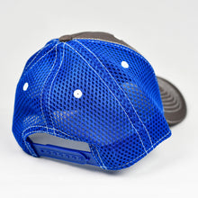 Load image into Gallery viewer, Charcoal Twill & Blue Air-Mesh Semi-Pro Snap-Back Trucker