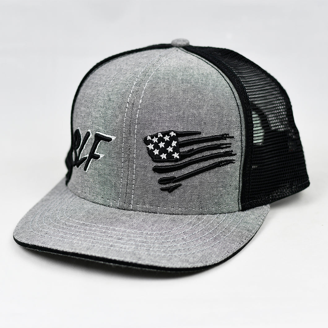 Heather Grey & Black Slight-Curve Flat-Bill Snap-Back Trucker