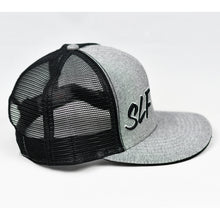 Load image into Gallery viewer, Heather Grey & Black Slight-Curve Flat-Bill Snap-Back Trucker