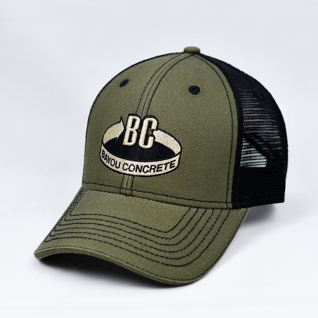 Olive Canvas & Black Semi-Pro Trucker