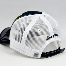 Load image into Gallery viewer, Navy Canvas & White Semi-Pro Trucker