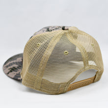Load image into Gallery viewer, Desert Digi-Camo & Khaki  Slight-Curve Flat-Bill Trucker