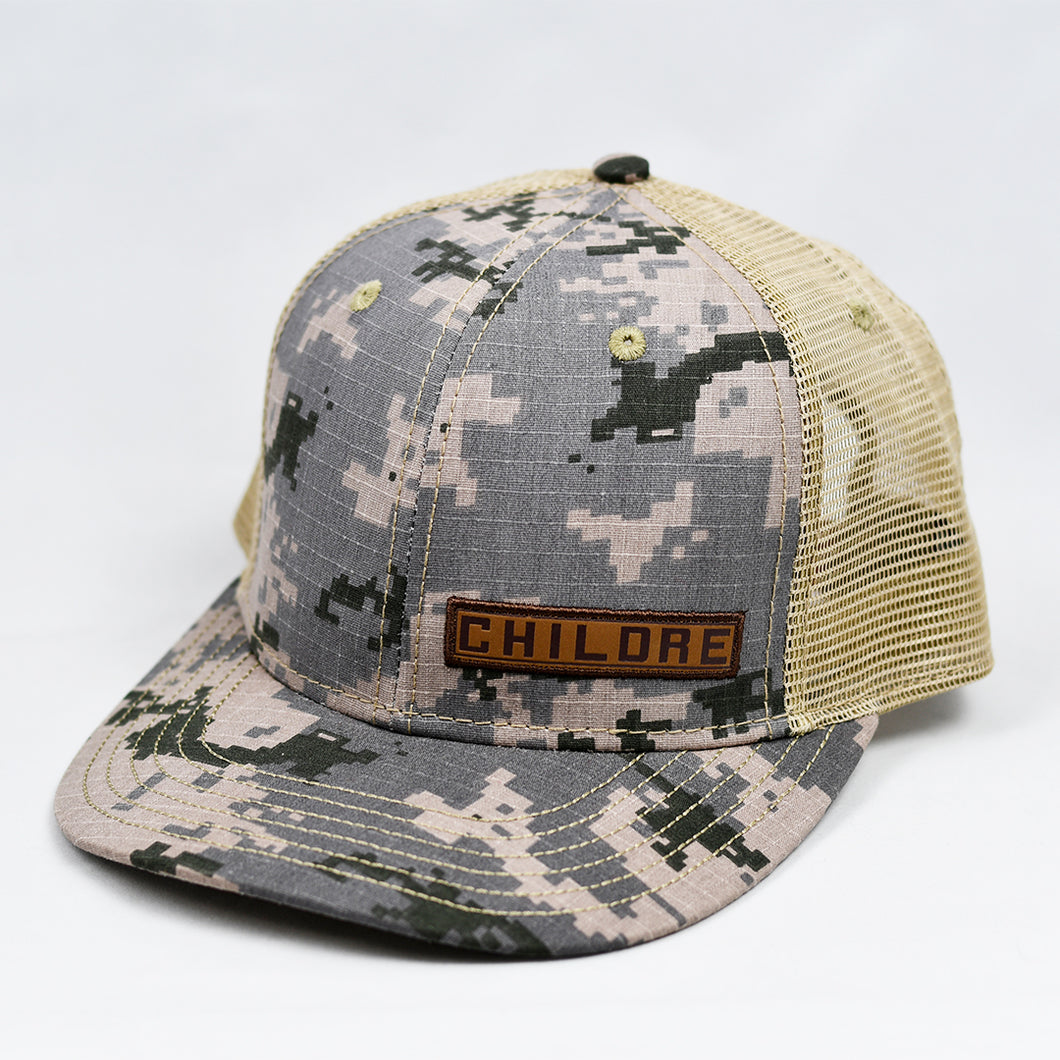 Desert Digi-Camo & Khaki  Slight-Curve Flat-Bill Trucker