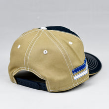 Load image into Gallery viewer, Navy & Khaki Panama Canvas Slight-Curve Flat-Bill Snap-Back
