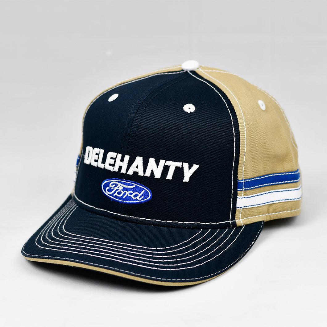 Navy & Khaki Panama Canvas Slight-Curve Flat-Bill Snap-Back