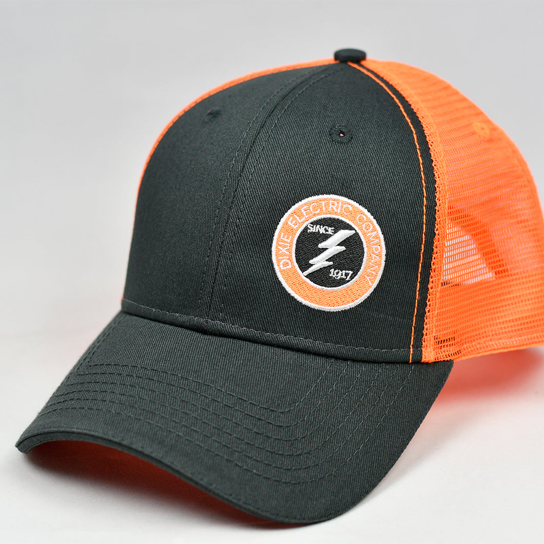 Charcoal Twill & Fluorescent Orange Semi-Pro Snap-Back Trucker
