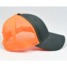 Load image into Gallery viewer, Charcoal Twill & Fluorescent Orange Semi-Pro Snap-Back Trucker